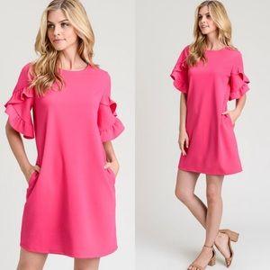 Short ruffle sleeve hot pink dress w pockets